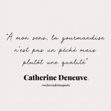 CITATION 💌 - « À mon sens, la gourmandise n'est pas un péché mais plutôt une qualité » Catherine Deneuve⠀⠀⠀⠀⠀⠀⠀⠀⠀ Tous les mardis découvrez une citation de femme forte, une citation qui nous inspire, qui nous tire vers le haut, qui nous booste, qui nous fait sourire.⠀⠀⠀⠀⠀⠀⠀⠀⠀ -⠀⠀⠀⠀⠀⠀⠀⠀⠀ #mardicitation #welovesabrinaparis #femmeforte #catherinedeneuve